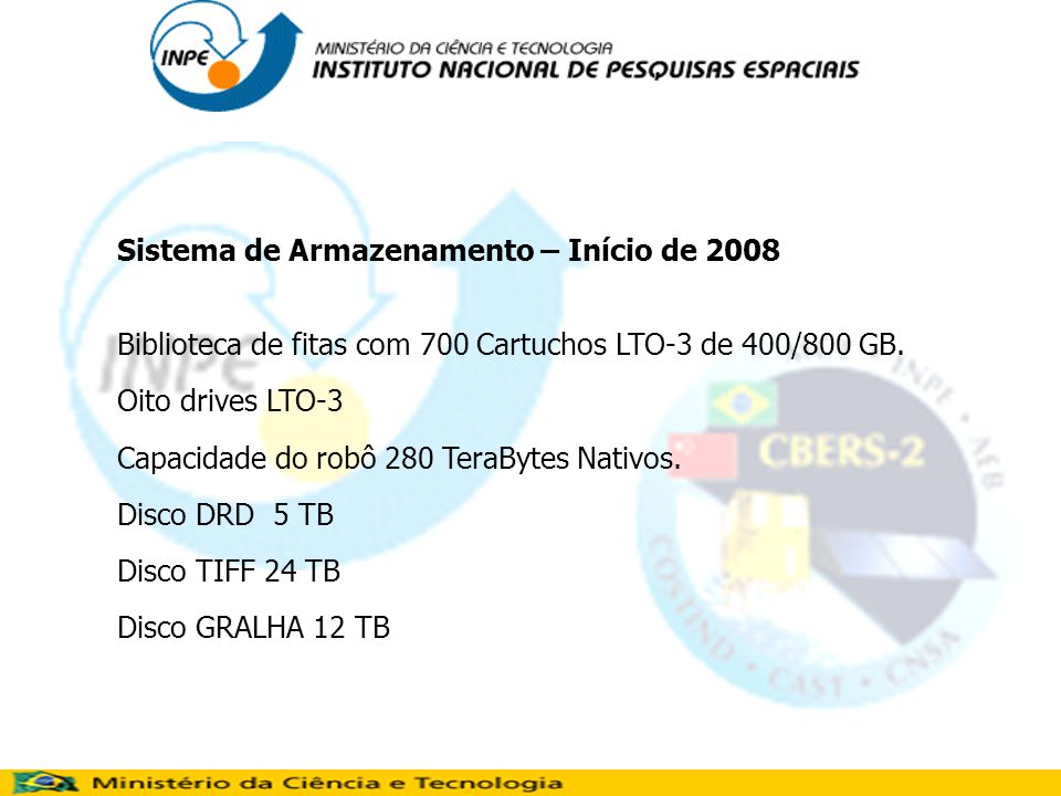 Sistema de Armazenamento – Início de 2008