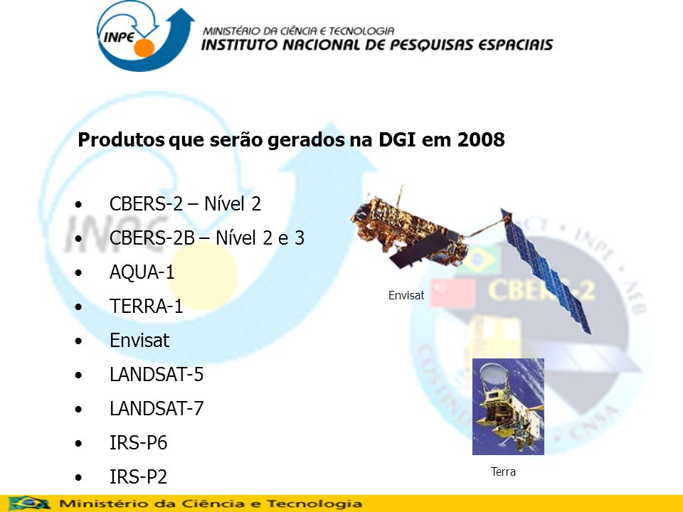 Produtos que serão gerados na DGI em 2008
