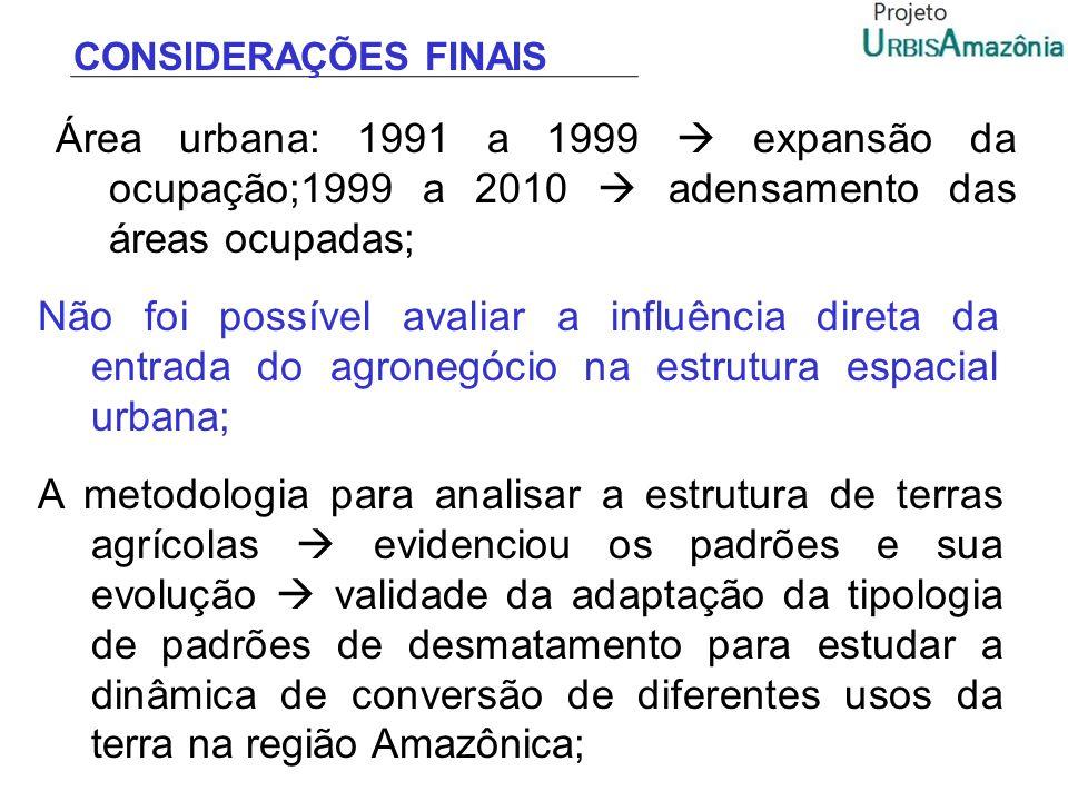 CONSIDERAÇÕES FINAIS Área urbana: 1991 a 1999  expansão da ocupação;1999 a 2010  adensamento das áreas ocupadas;