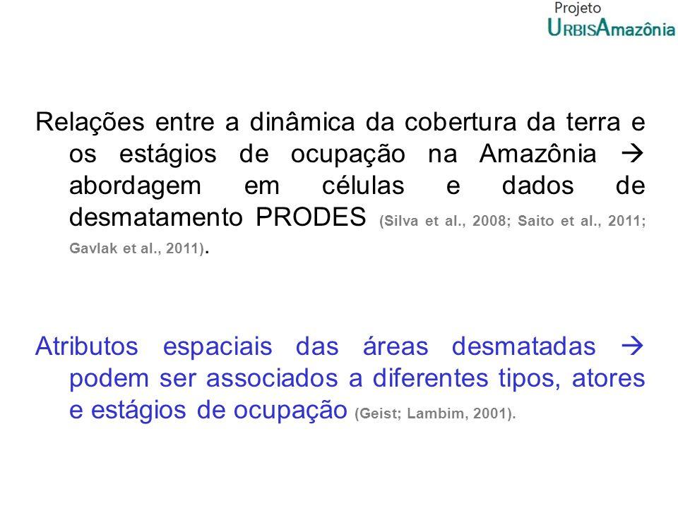 Relações entre a dinâmica da cobertura da terra e os estágios de ocupação na Amazônia  abordagem em células e dados de desmatamento PRODES (Silva et al., 2008; Saito et al., 2011; Gavlak et al., 2011).