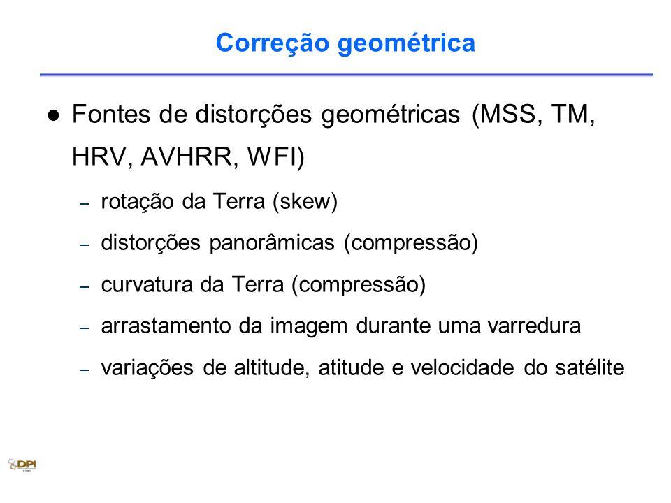 Fontes de distorções geométricas (MSS, TM, HRV, AVHRR, WFI)