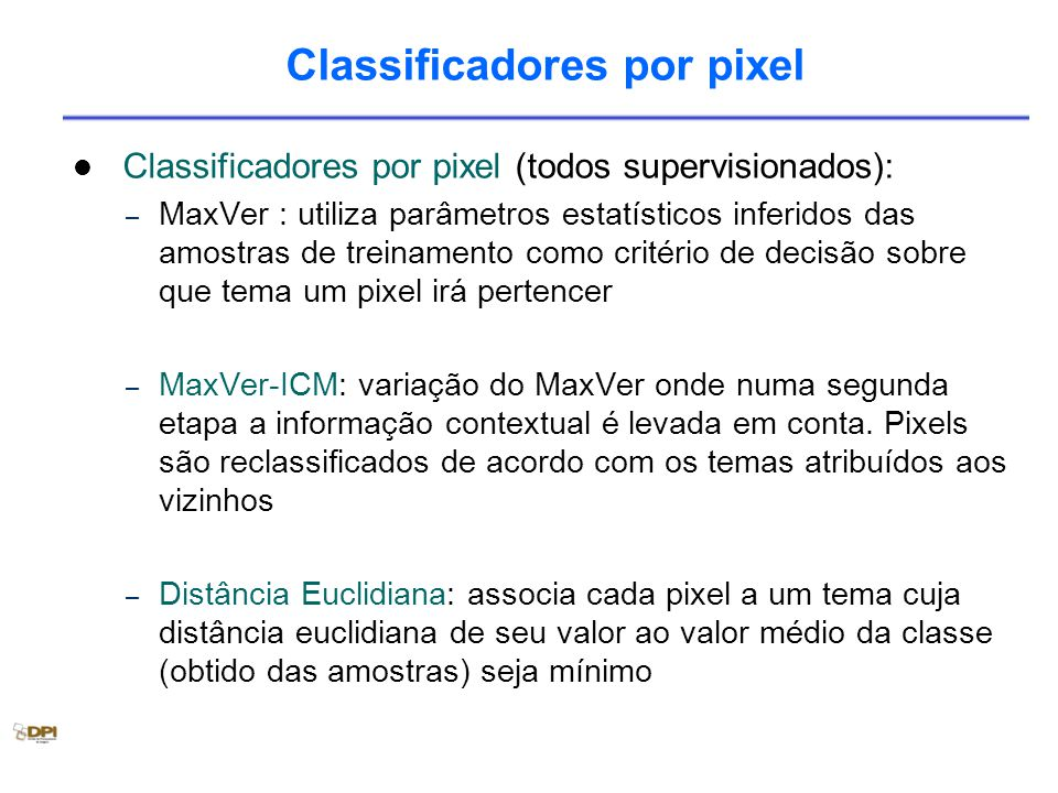 Classificadores por pixel