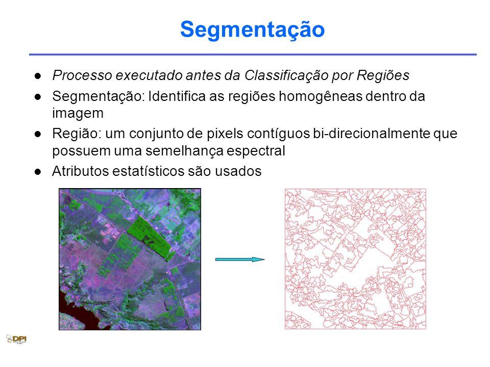 Segmentação Processo executado antes da Classificação por Regiões