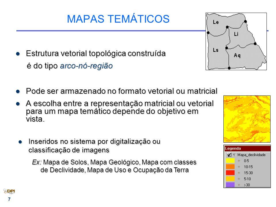 MAPAS TEMÁTICOS Estrutura vetorial topológica construída