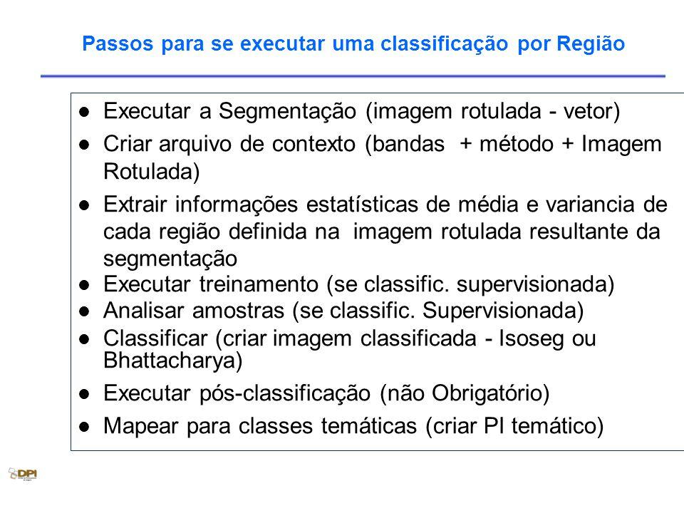 Passos para se executar uma classificação por Região