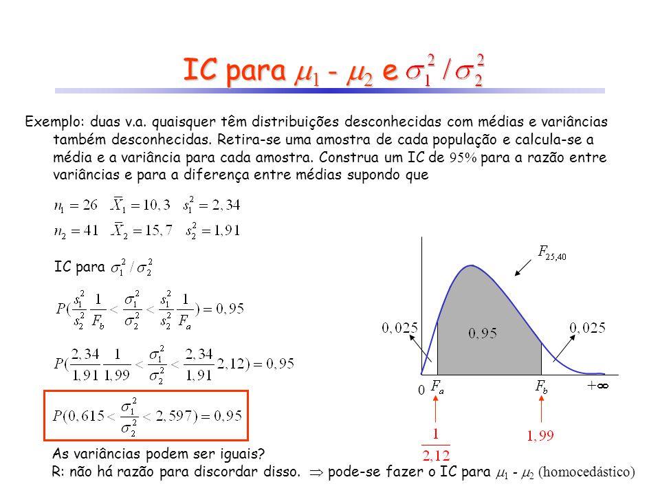 IC para 1 - 2 e