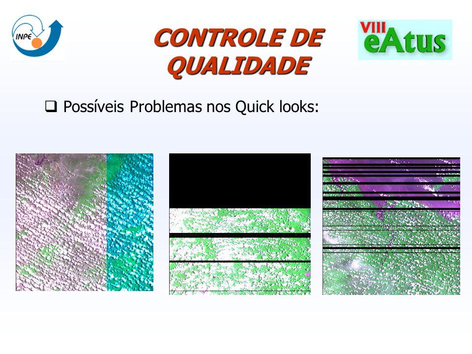 CONTROLE DE QUALIDADE Possíveis Problemas nos Quick looks: