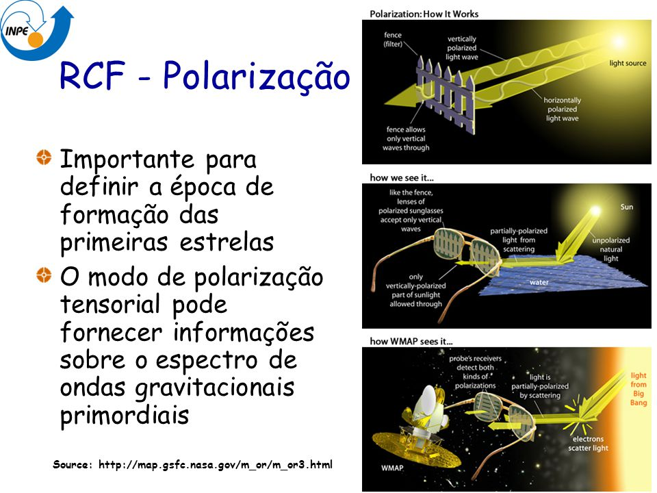 RCF - Polarização Importante para definir a época de formação das primeiras estrelas.