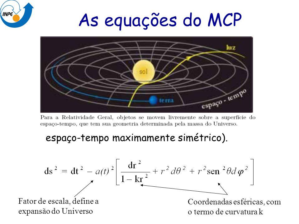 As equações do MCP Métrica de Robertson-Walker (define um espaço-tempo maximamente simétrico). Fator de escala, define a expansão do Universo.