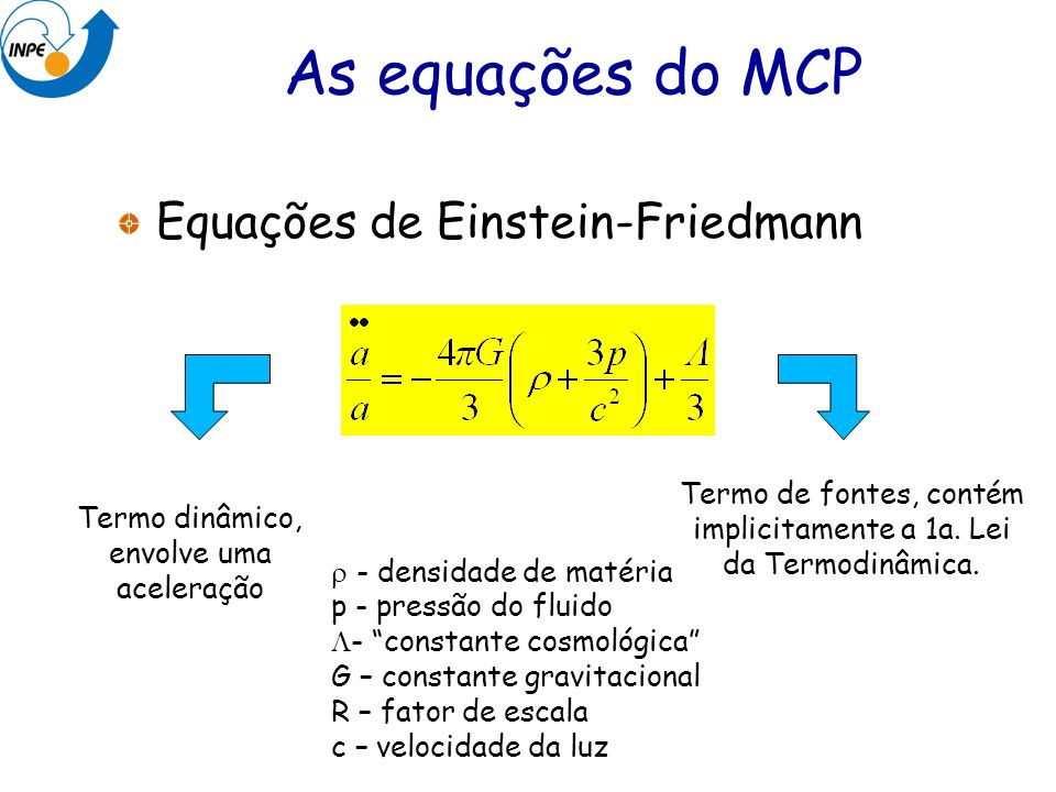 As equações do MCP Equações de Einstein-Friedmann