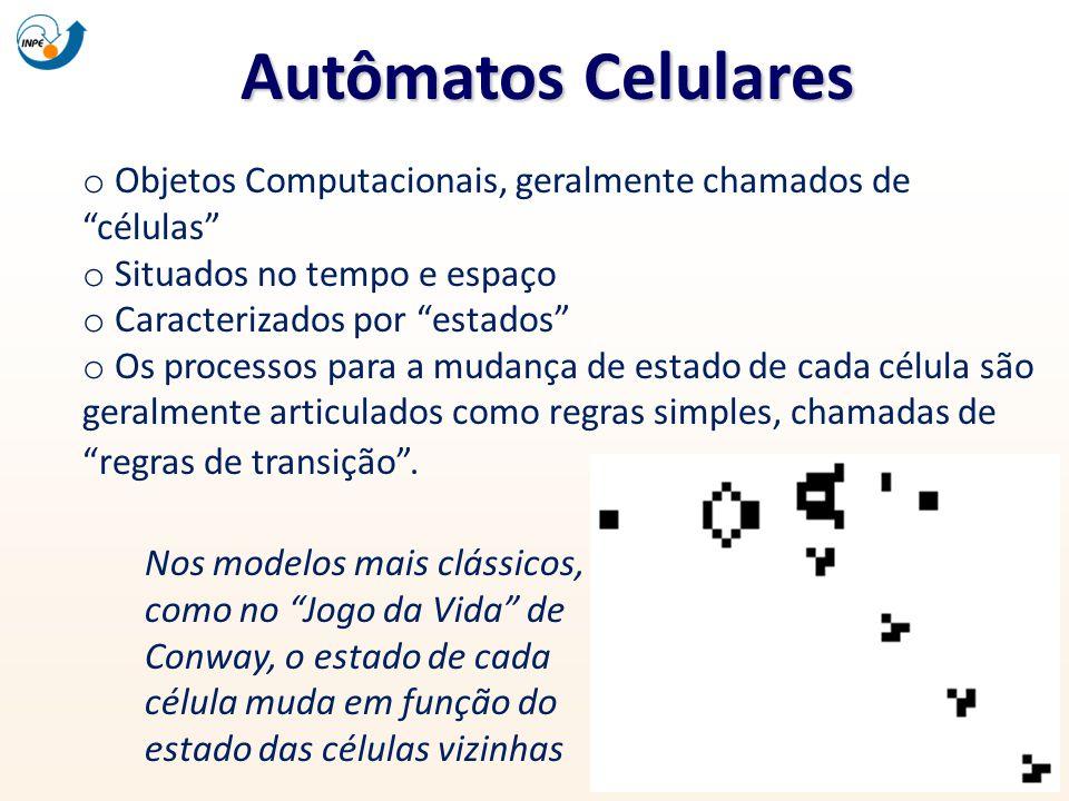 Autômatos Celulares Objetos Computacionais, geralmente chamados de células Situados no tempo e espaço.