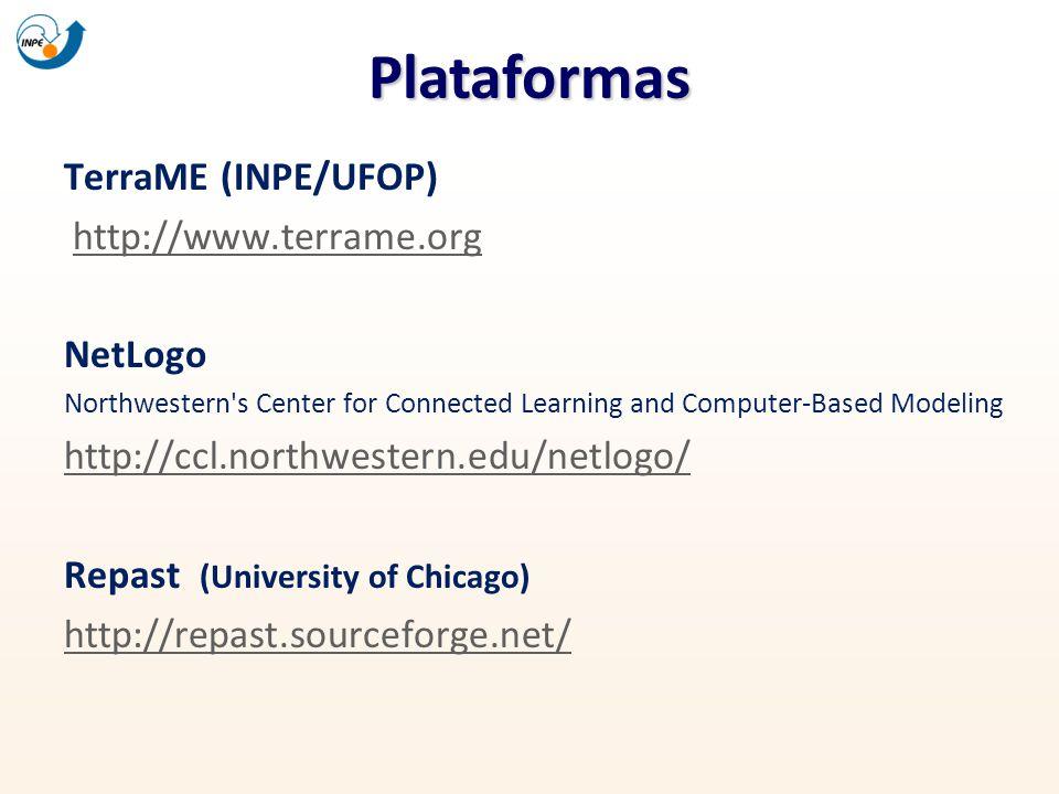 Plataformas TerraME (INPE/UFOP) http://www.terrame.org NetLogo