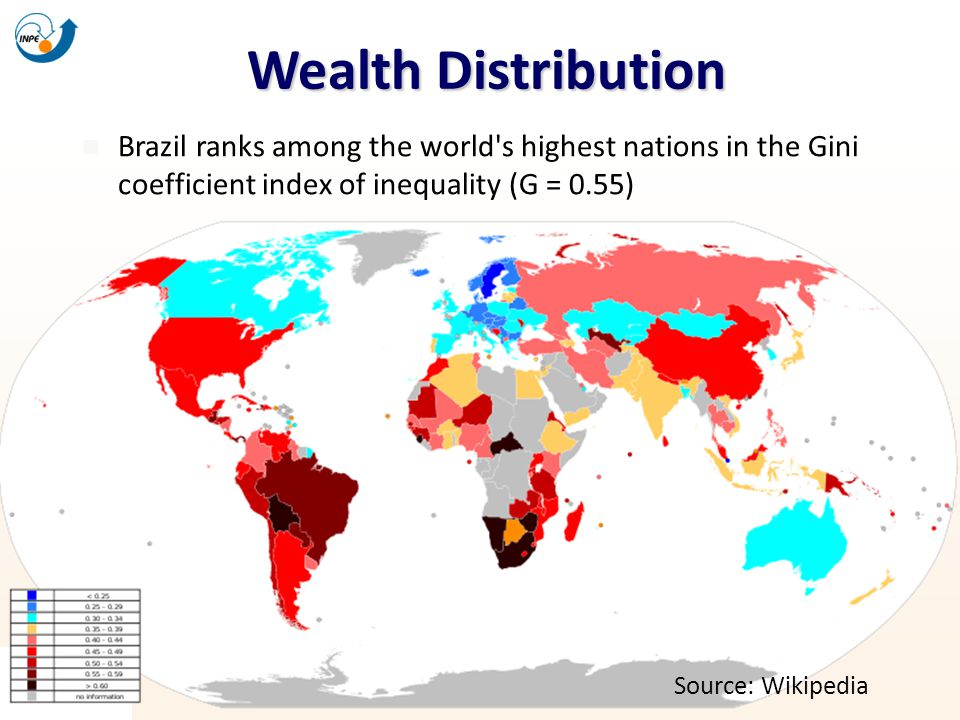 Wealth Distribution Brazil ranks among the world s highest nations in the Gini coefficient index of inequality (G = 0.55)