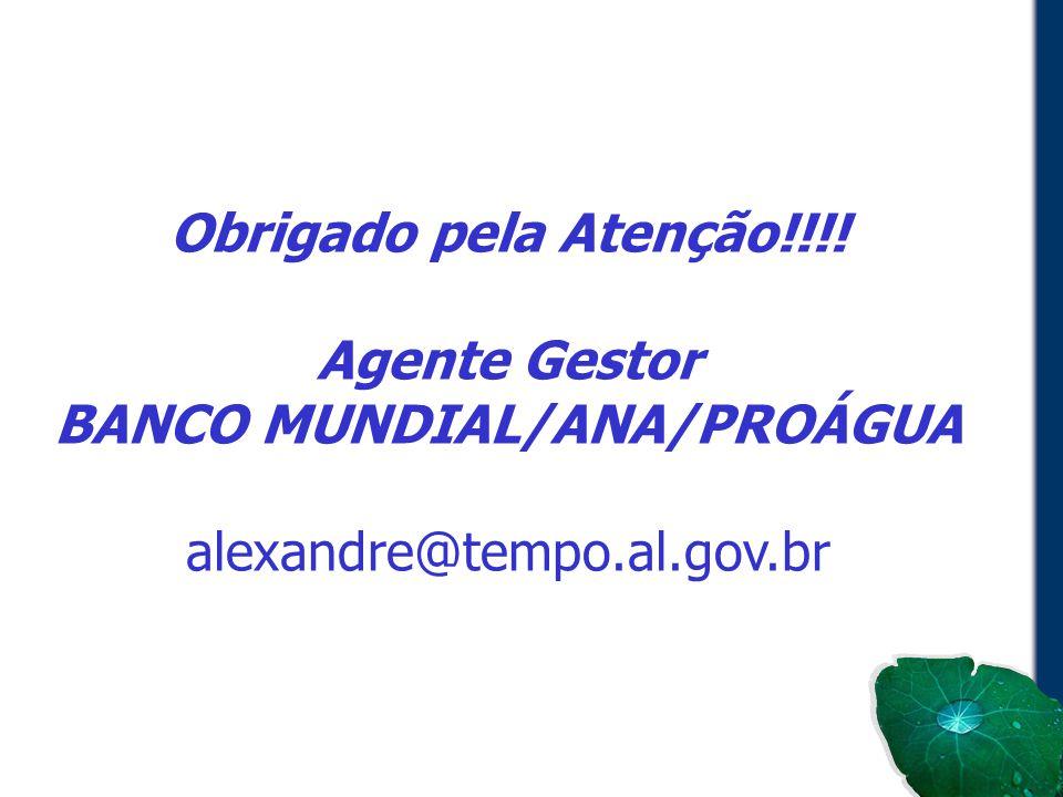 Obrigado pela Atenção!!!! Agente Gestor BANCO MUNDIAL/ANA/PROÁGUA alexandre@tempo.al.gov.br