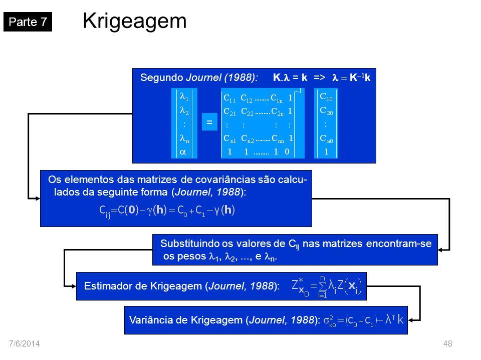 Krigeagem Parte 7 Segundo Journel (1988): K.l = k => K-1k =