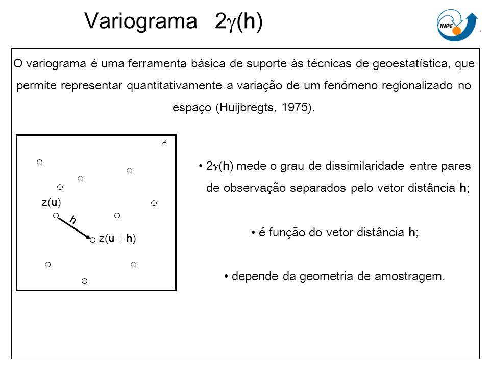 Variograma 2g(h) O variograma é uma ferramenta básica de suporte às técnicas de geoestatística, que.