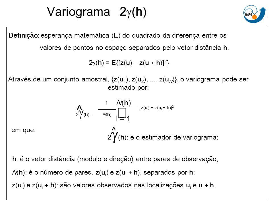 Variograma 2g(h) Definição: esperança matemática (E) do quadrado da diferença entre os.