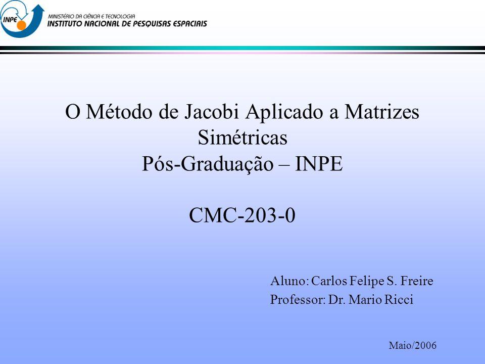 O Método de Jacobi Aplicado a Matrizes Simétricas Pós-Graduação – INPE CMC-203-0