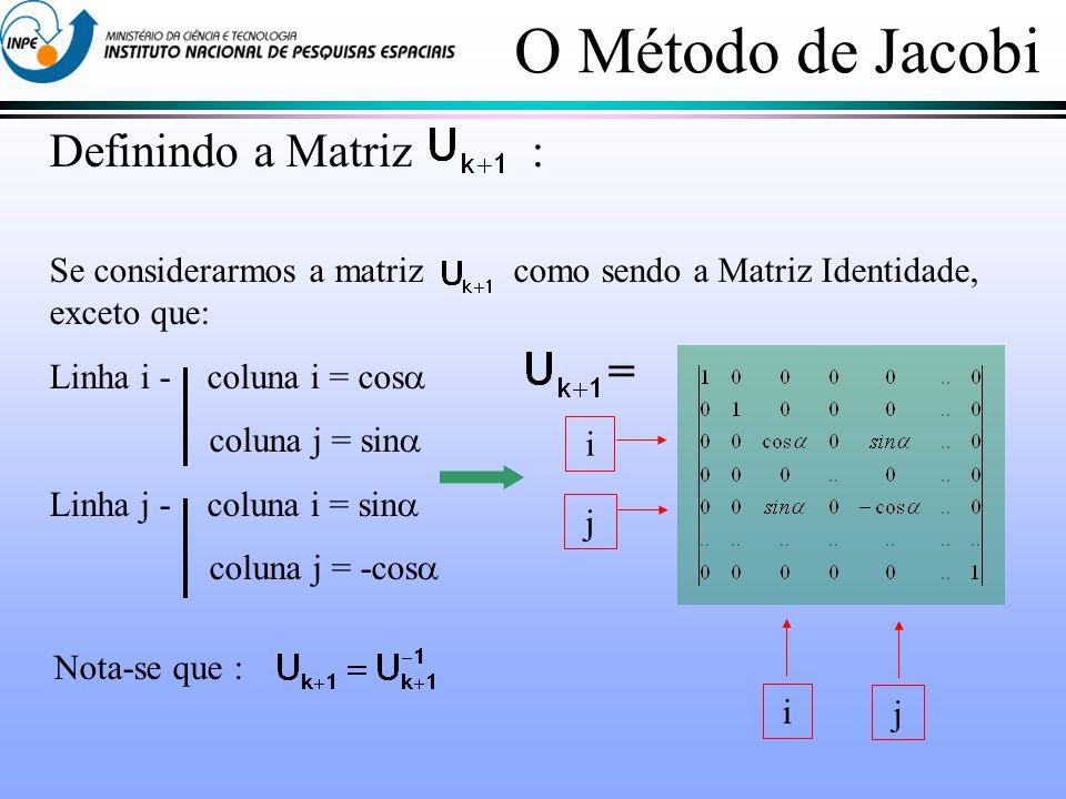 O Método de Jacobi Definindo a Matriz : =