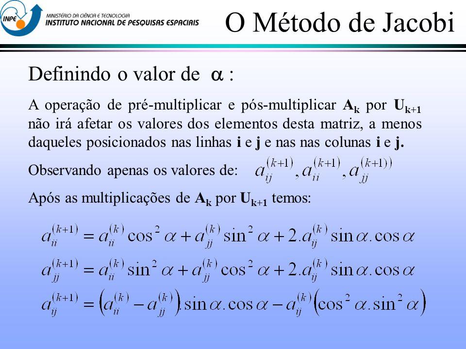 O Método de Jacobi Definindo o valor de  :