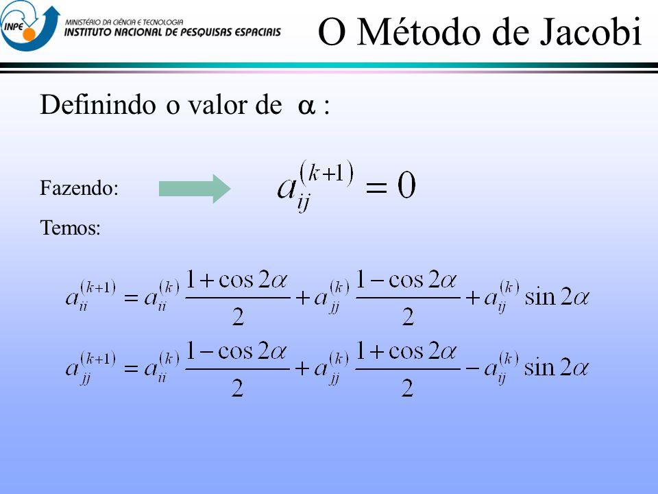 O Método de Jacobi Definindo o valor de  : Fazendo: Temos: