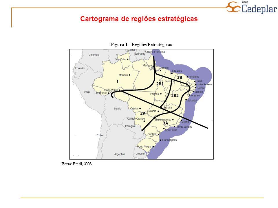 Cartograma de regiões estratégicas