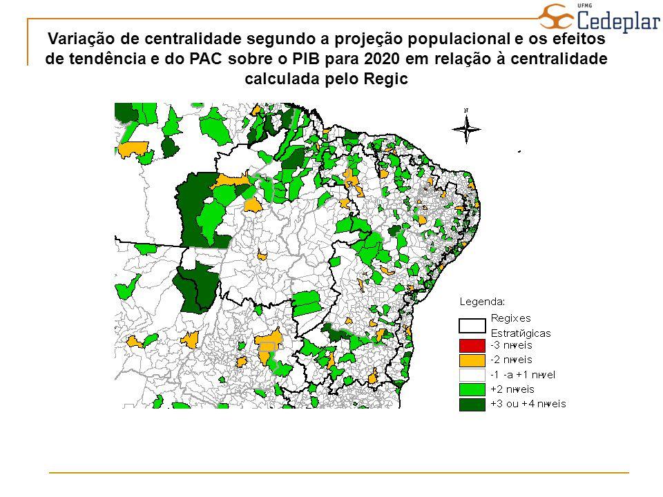 Variação de centralidade segundo a projeção populacional e os efeitos de tendência e do PAC sobre o PIB para 2020 em relação à centralidade calculada pelo Regic