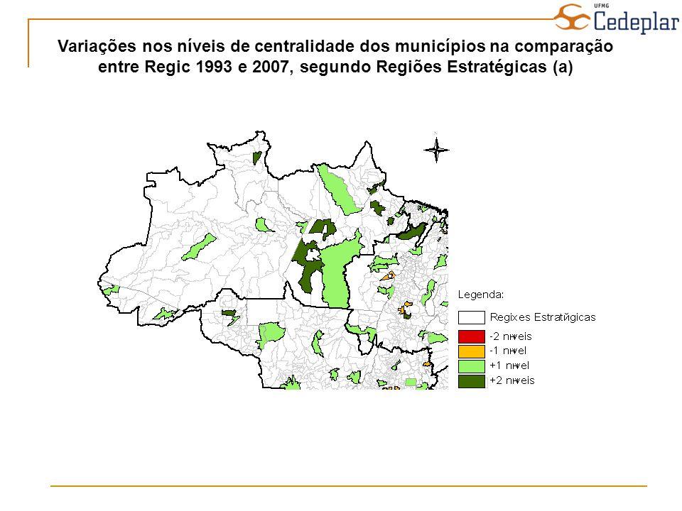 Variações nos níveis de centralidade dos municípios na comparação entre Regic 1993 e 2007, segundo Regiões Estratégicas (a)