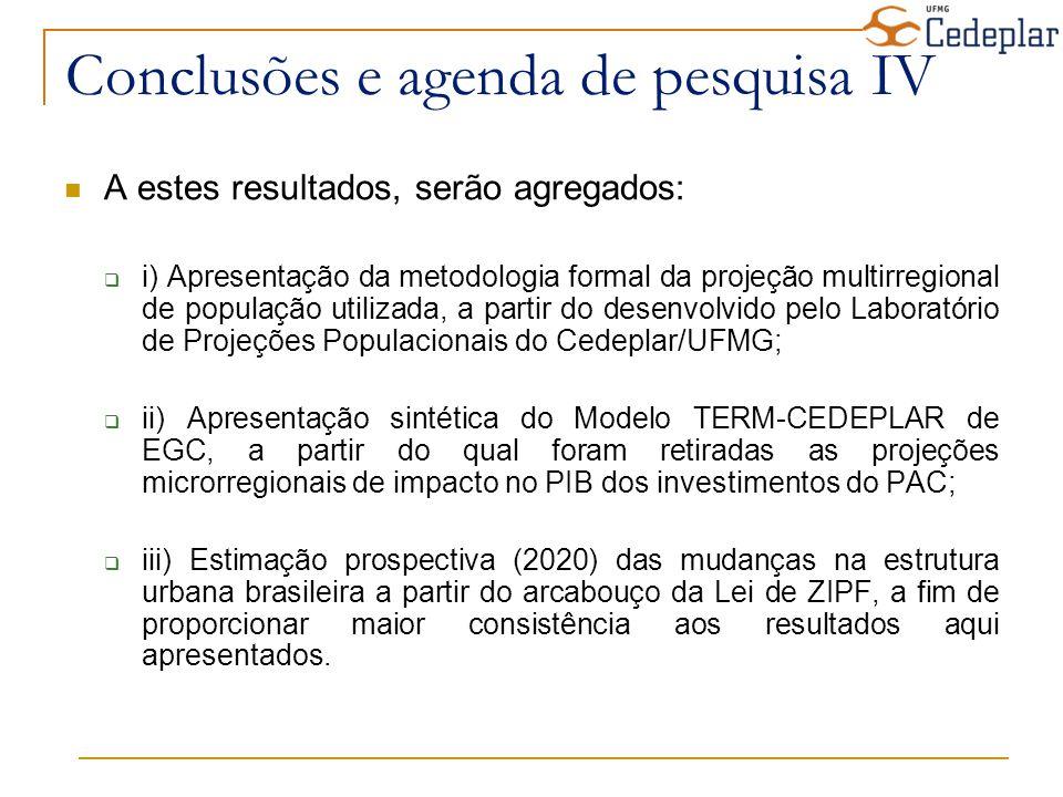Conclusões e agenda de pesquisa IV