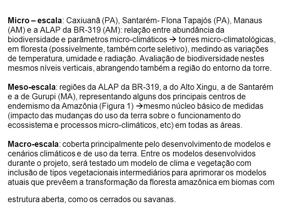Micro – escala: Caxiuanã (PA), Santarém- Flona Tapajós (PA), Manaus (AM) e a ALAP da BR-319 (AM): relação entre abundância da biodiversidade e parâmetros micro-climáticos  torres micro-climatológicas, em floresta (possivelmente, também corte seletivo), medindo as variações de temperatura, umidade e radiação.