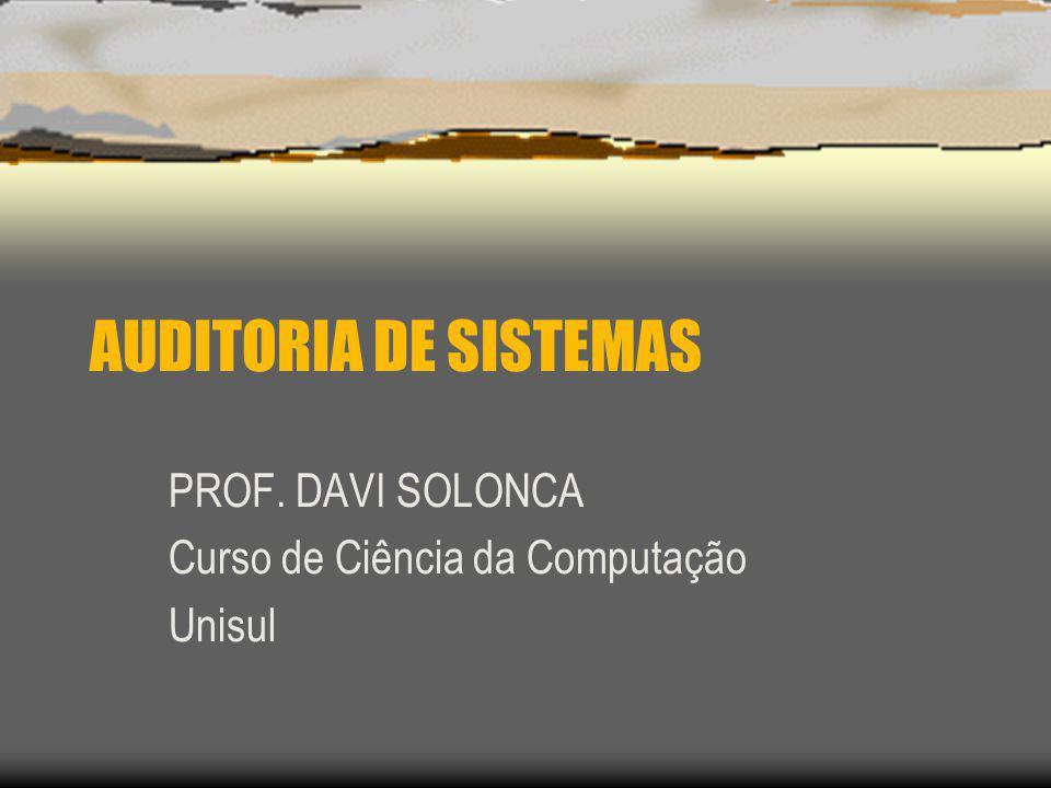 PROF. DAVI SOLONCA Curso de Ciência da Computação Unisul
