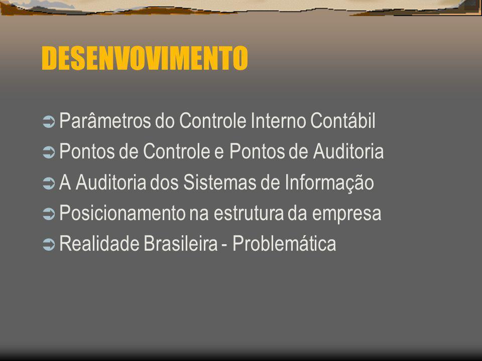 DESENVOVIMENTO Parâmetros do Controle Interno Contábil