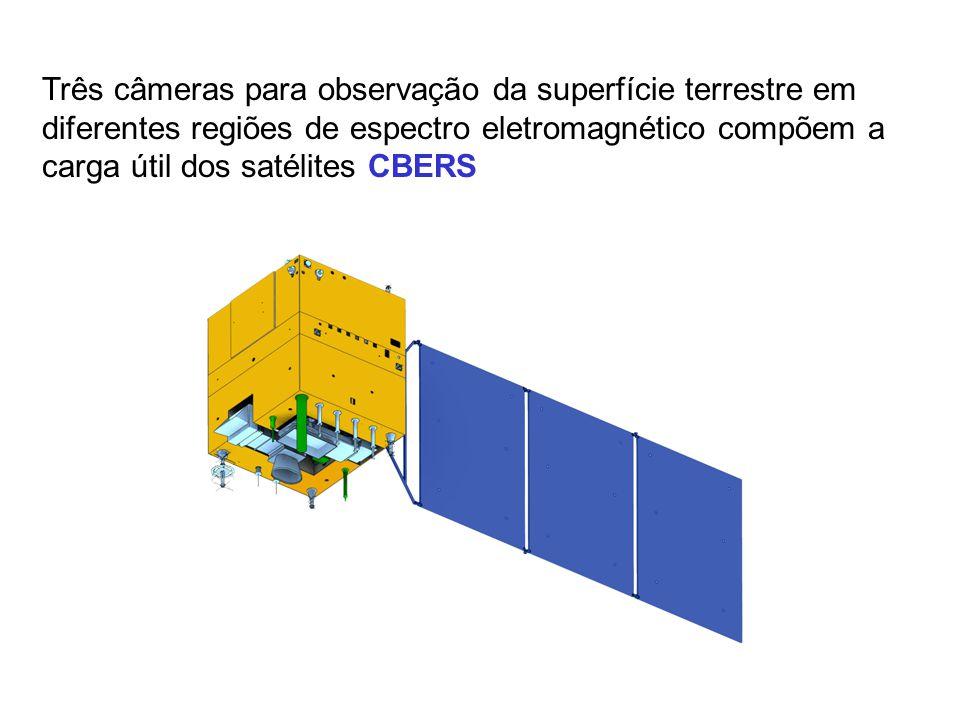 Três câmeras para observação da superfície terrestre em diferentes regiões de espectro eletromagnético compõem a carga útil dos satélites CBERS