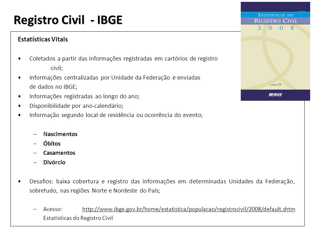 Registro Civil - IBGE Estatísticas Vitais