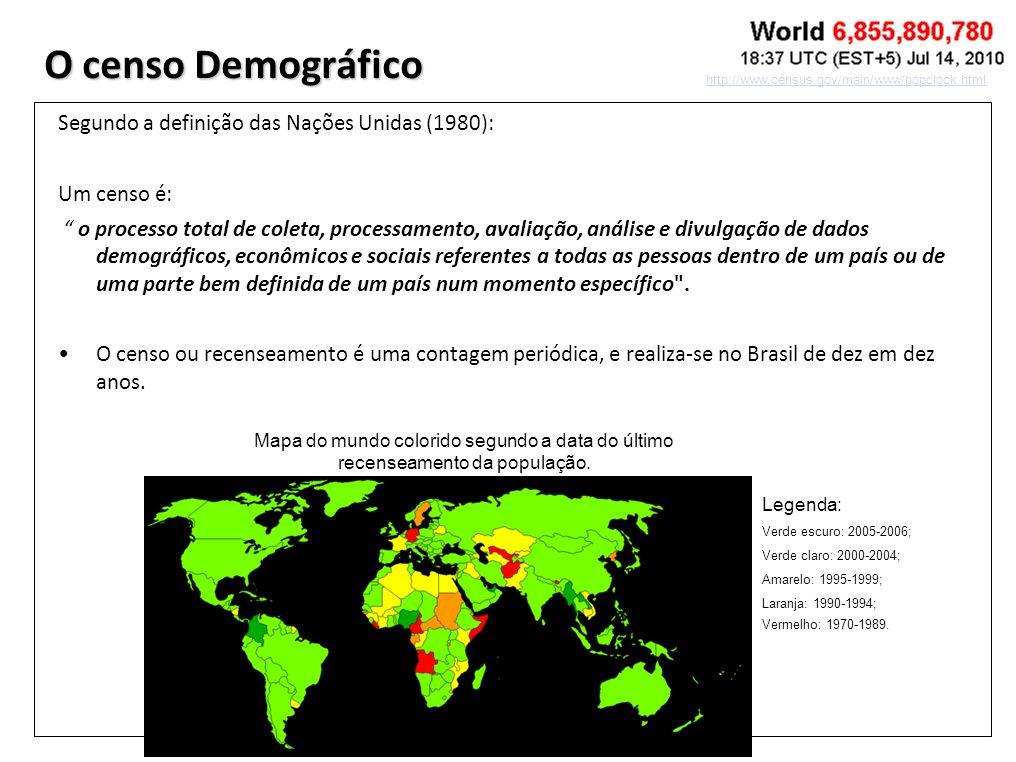 O censo Demográfico Segundo a definição das Nações Unidas (1980):