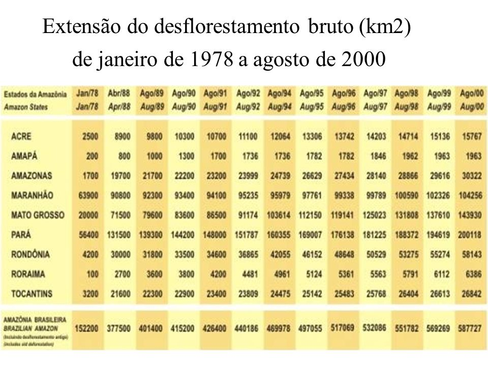 Extensão do desflorestamento bruto (km2)