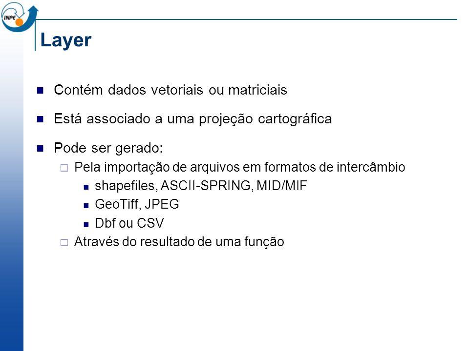 Layer Contém dados vetoriais ou matriciais
