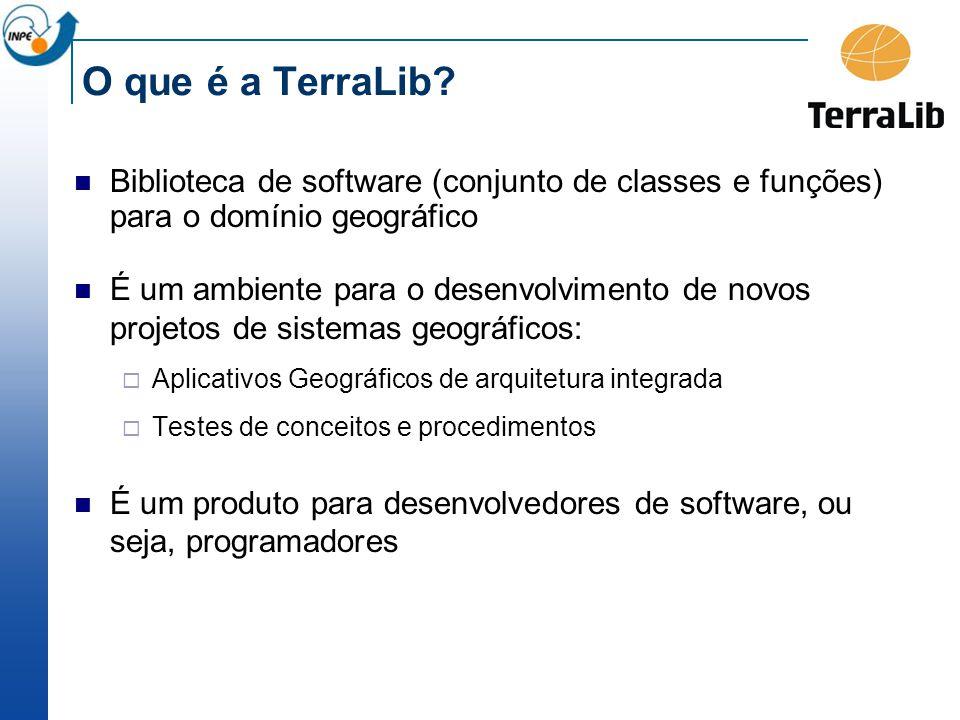 O que é a TerraLib Biblioteca de software (conjunto de classes e funções) para o domínio geográfico.