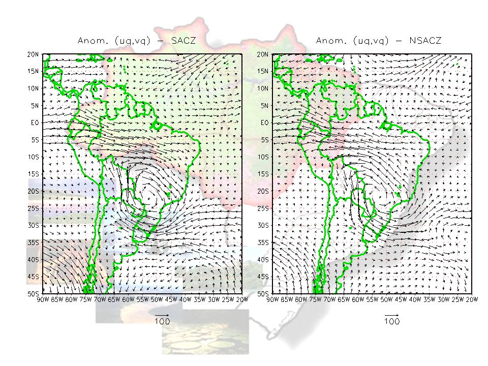 A comparação entre as Figura 7a e 7b deixa clara a inversão que ocorre entre os dois períodos, com a presença de uma circulação ciclônica anômala em torno de 22oS-53oW, durante o período de ZCAS e uma circulação anticiclônica anômala na mesma região durante o período de NZCAS.