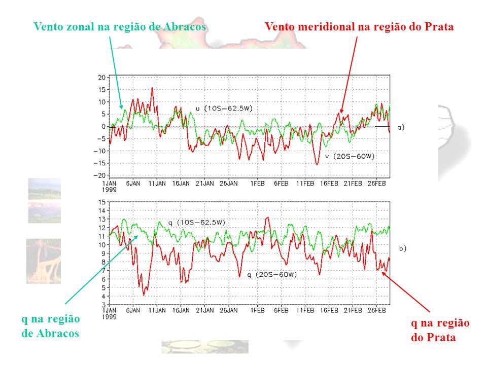 Vento zonal na região de Abracos Vento meridional na região do Prata
