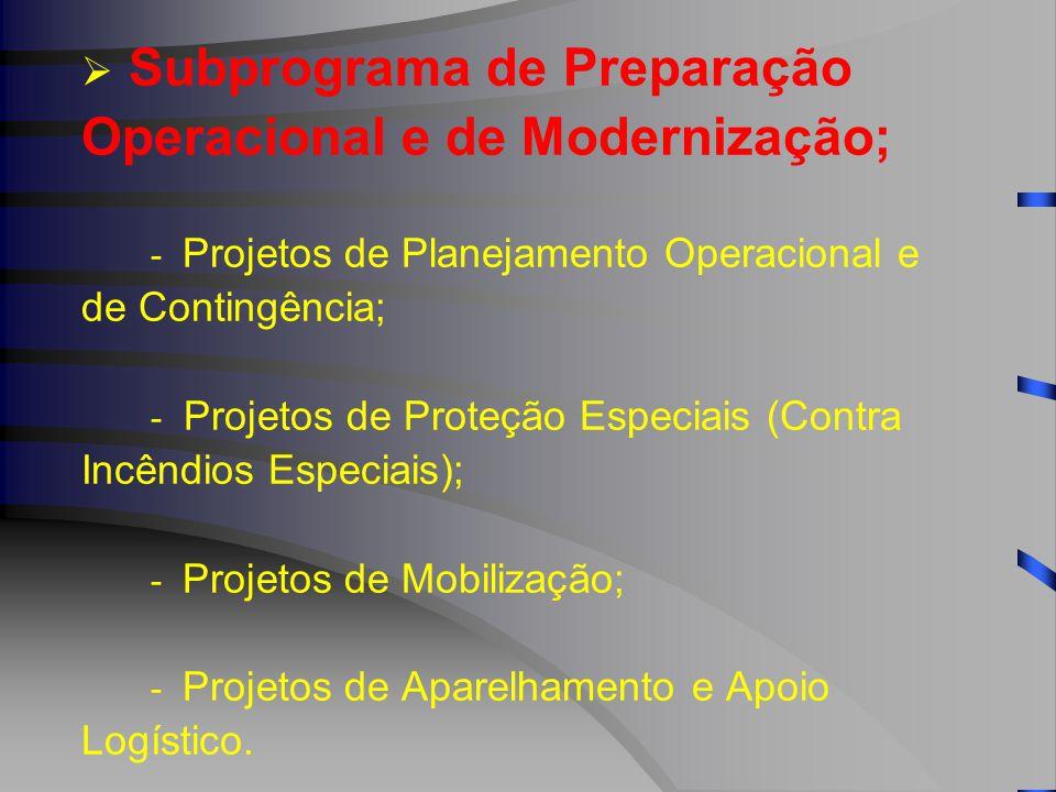  Subprograma de Preparação Operacional e de Modernização; - Projetos de Planejamento Operacional e de Contingência; - Projetos de Proteção Especiais (Contra Incêndios Especiais); - Projetos de Mobilização; - Projetos de Aparelhamento e Apoio Logístico.