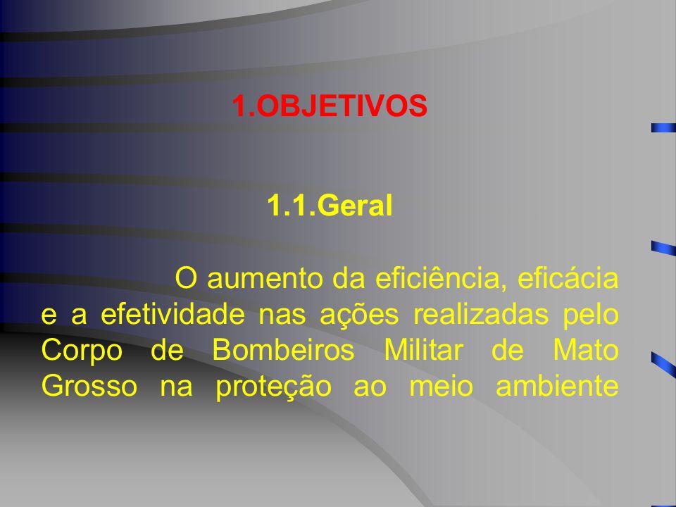 1.OBJETIVOS 1.1.Geral O aumento da eficiência, eficácia e a efetividade nas ações realizadas pelo Corpo de Bombeiros Militar de Mato Grosso na proteção ao meio ambiente