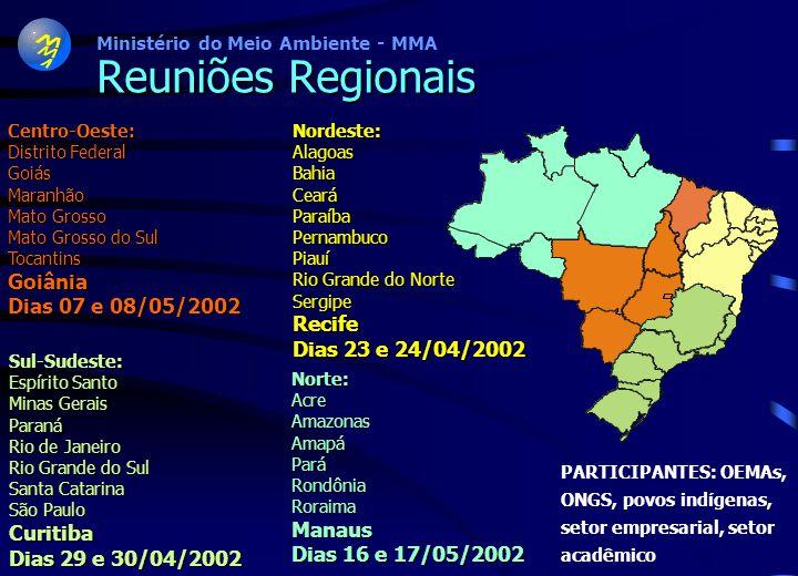 Reuniões Regionais Goiânia Dias 07 e 08/05/2002 Recife