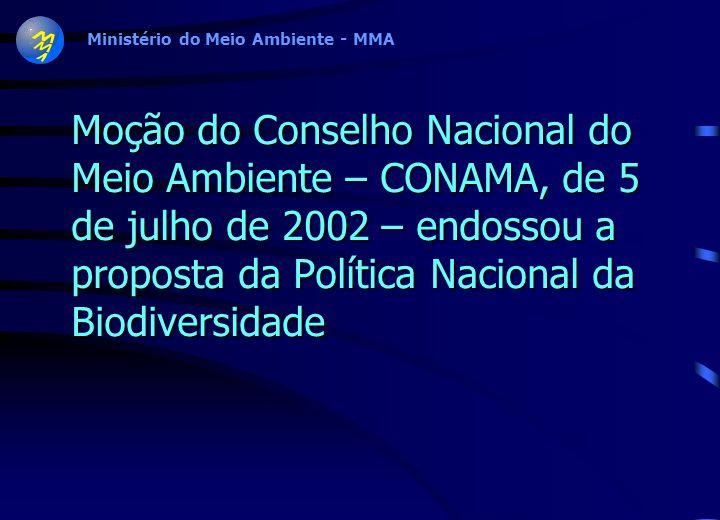 Moção do Conselho Nacional do Meio Ambiente – CONAMA, de 5 de julho de 2002 – endossou a proposta da Política Nacional da Biodiversidade