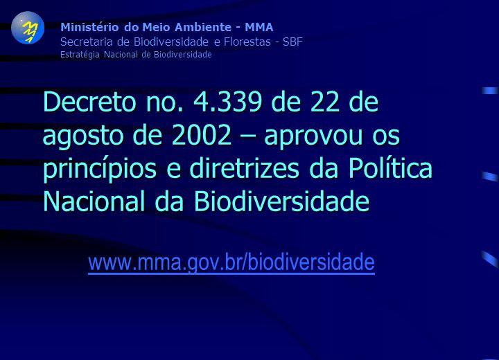 Decreto no. 4.339 de 22 de agosto de 2002 – aprovou os princípios e diretrizes da Política Nacional da Biodiversidade