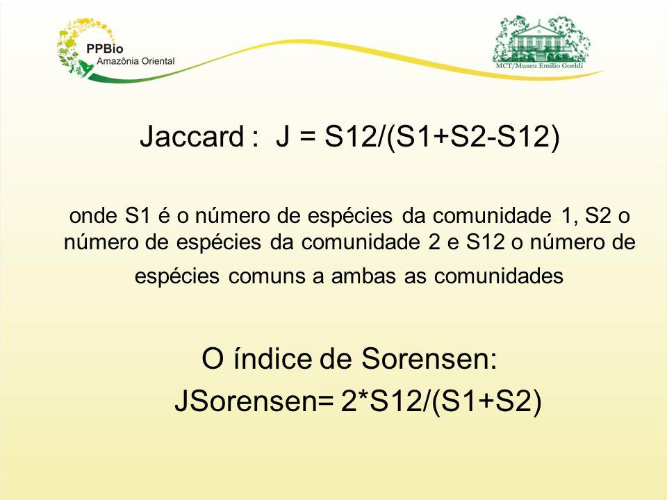 Jaccard : J = S12/(S1+S2-S12) O índice de Sorensen: