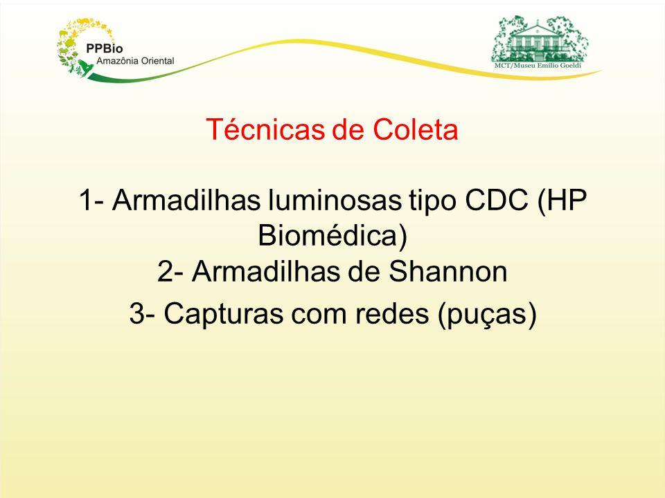 Técnicas de Coleta 1- Armadilhas luminosas tipo CDC (HP Biomédica) 2- Armadilhas de Shannon 3- Capturas com redes (puças)