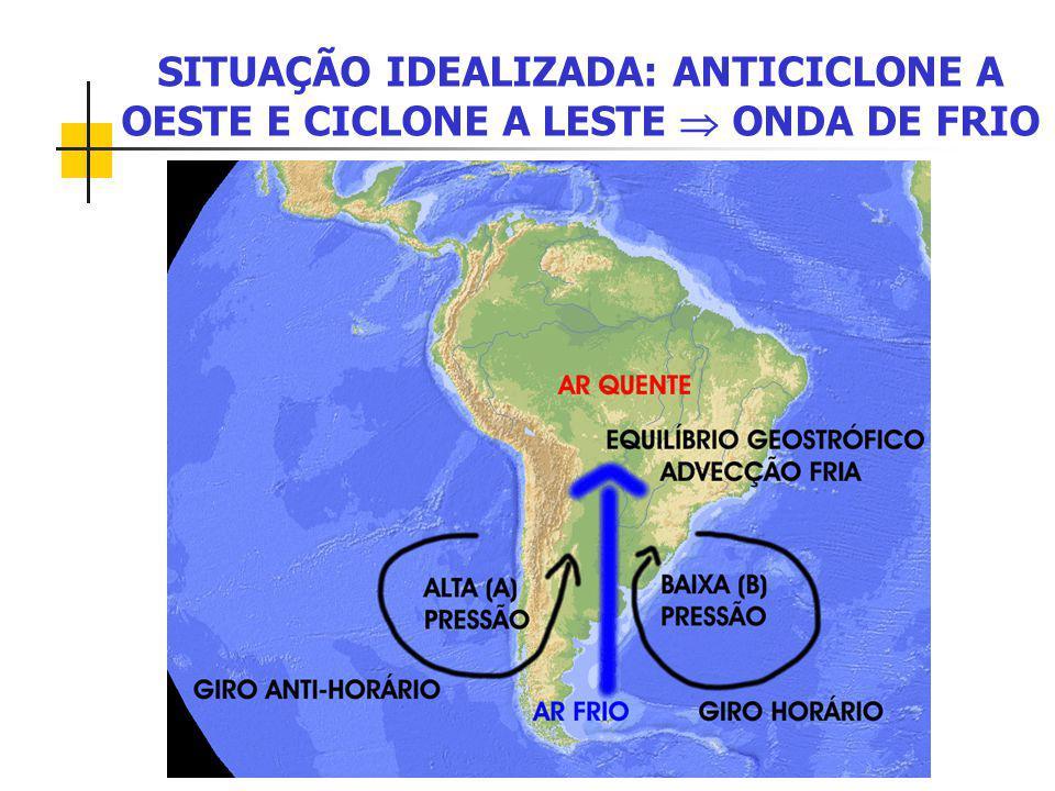 SITUAÇÃO IDEALIZADA: ANTICICLONE A OESTE E CICLONE A LESTE  ONDA DE FRIO