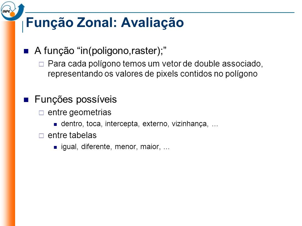 Função Zonal: Avaliação