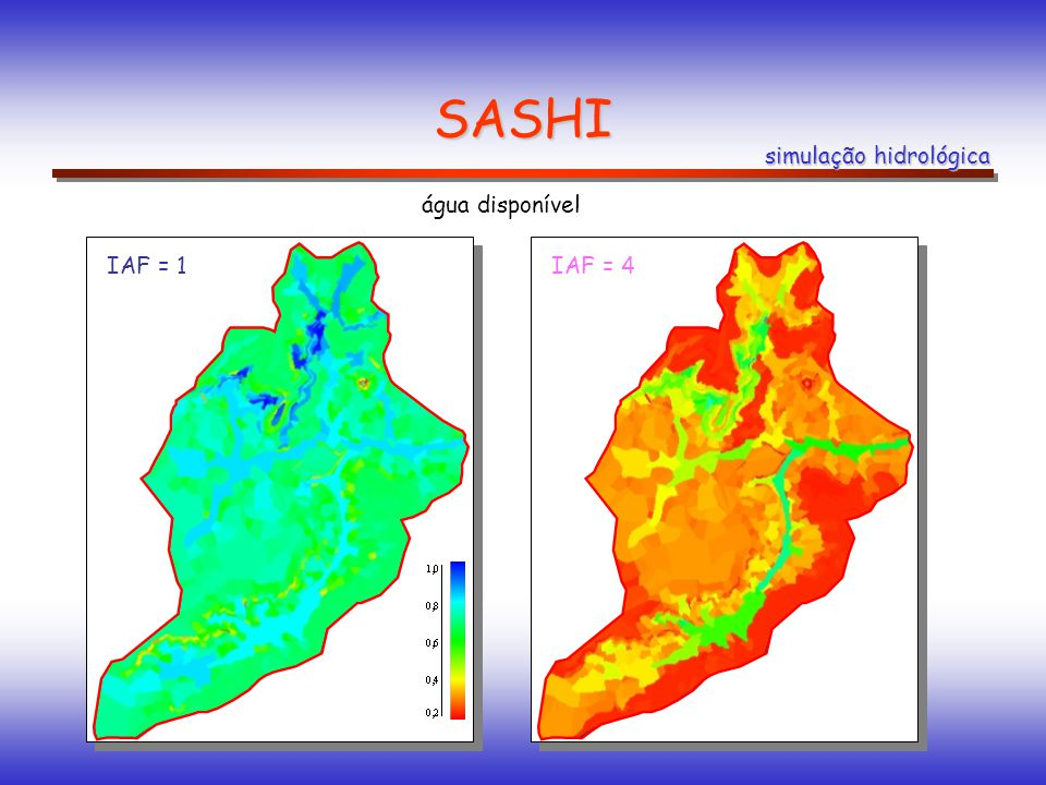SASHI simulação hidrológica água disponível IAF = 1 IAF = 4